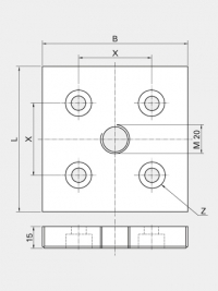 Base and Transport Plate 80x80, no thread