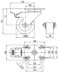 Swivel Castor with plate and brake 80 mm